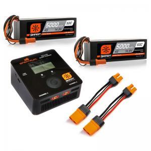 Spektrum Smart S2100 Laddare med två 14.8V 4S 5000mAH LiPo