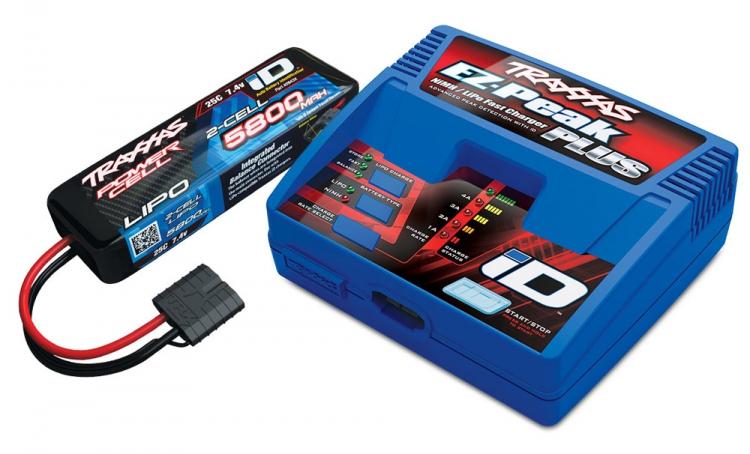 Laddare EZ-Peak 4A (230V) och 2S LiPo 5800mAh iD Batteri Combo