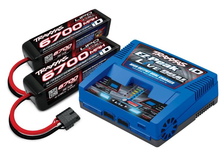 TRX2997G Laddare EZ-Peak Live Dual 26A och 2x4S 6700mAh Batteri Combo