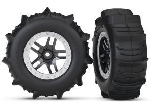 TRX5891 Däck & Fälg Paddel/Split-Spoke Matt Krom 4WD/2WD Bak