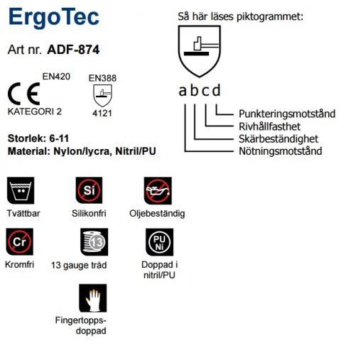 ADF-874 Ergo Tec Kullagret Handske