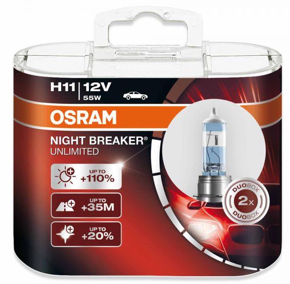h11 osram night breaker unlimited 2 pack. Black Bedroom Furniture Sets. Home Design Ideas