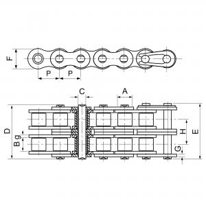 6mm (04B-2) Rullkedja Duplex | 5 meter