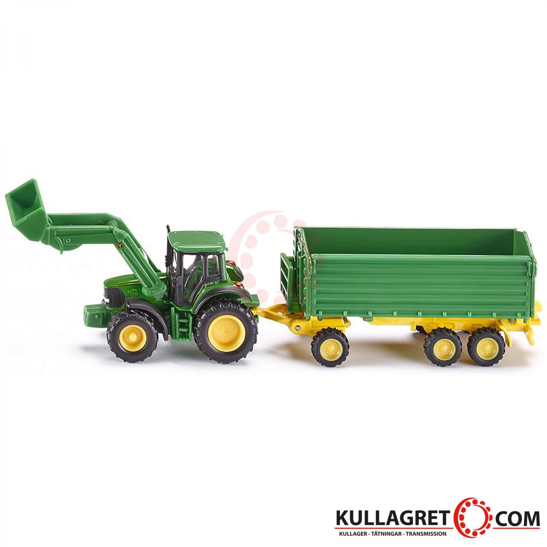 John Deere traktor med frontlastare och vagn   SIKU 1:87