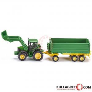 John Deere traktor med frontlastare och vagn | SIKU 1:87