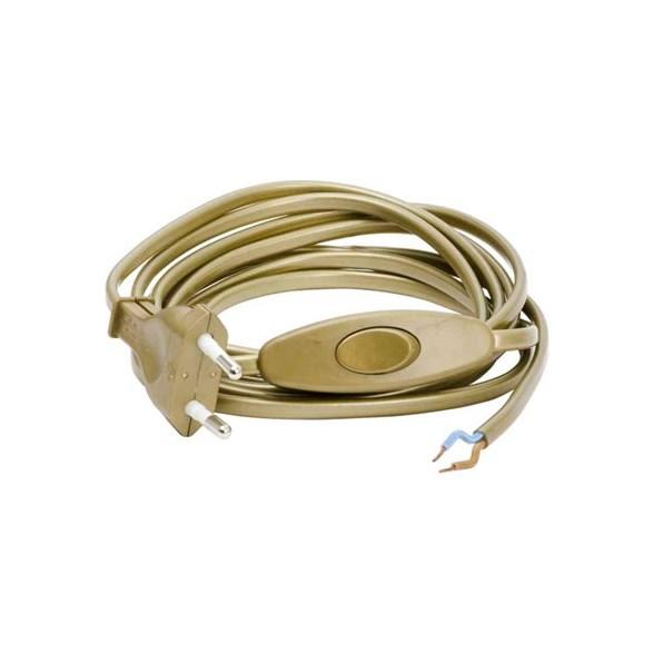Armatursladd guldfärgad med mellanströmbrytare och europa-kontakt. Ojordad. Perfekt vid byte av lampsladd.