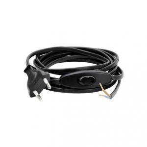 Armatursladd svart med mellanströmbrytare och europa-kontakt. Ojordad. Perfekt vid byte av lampsladd.