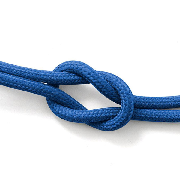 Blå textilsladd ojordad kabel. Finns i flera olika längder.