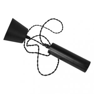 Cordone E27 i mattsvart. Med svart tvinnad kabel och en lite större sockel.
