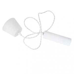 Cordone E27 i mattvitt. Med vit tvinnad kabel och en lite större sockel.
