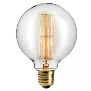 Edison glödlampa med en 125 millimeters glob E27 40W. Med ett varmt ljus.