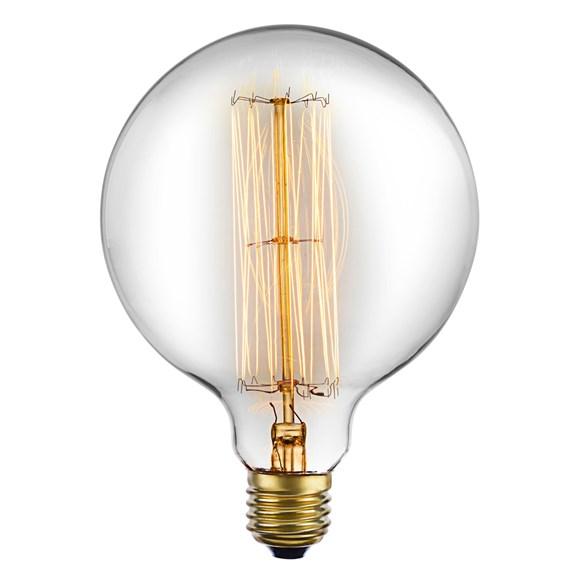 Spiral glödlampa med en 95 millimeters glob E27 40W. Med ett varmt ljus.