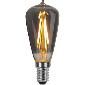 filament led edison med rökfärgat glas och E14 sockel.