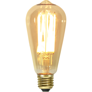 filament led edison med vintage stil och gult glas.