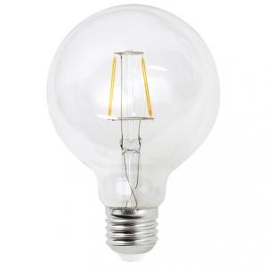 Filament LED-lampa 95 millimeter glas, E27 klot lampa. Motsvarande 25w glödlampa.