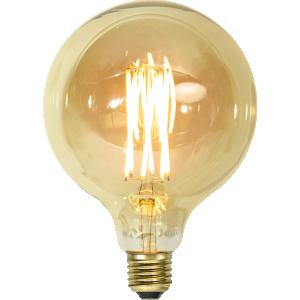 filament led glob i 125mm med vintage stil och gult glas.
