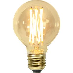 filament led glob i 80mm med vintage stil och gult glas.