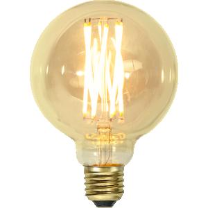 filament led glob i 95mm med vintage stil och gult glas.