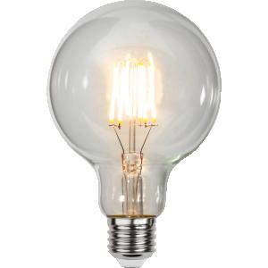 filament led glob med ett varmt ljus och E27 sockel.