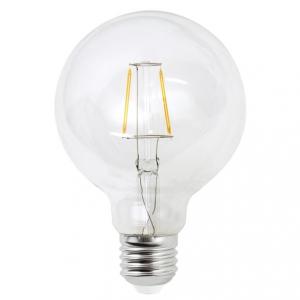 Filament LED-lampa 125 millimeter glas, E27 klot lampa. Motsvarande 40w glödlampa.