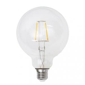 Filament LED-lampa 95 millimeter glas, E27 klot lampa. Motsvarande 40w glödlampa.