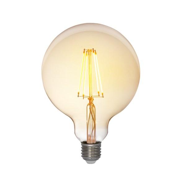 Filament LED-lampa 125 millimeter E27 med antique glas. Motsvarande 35W glödlampa. Dimbar.