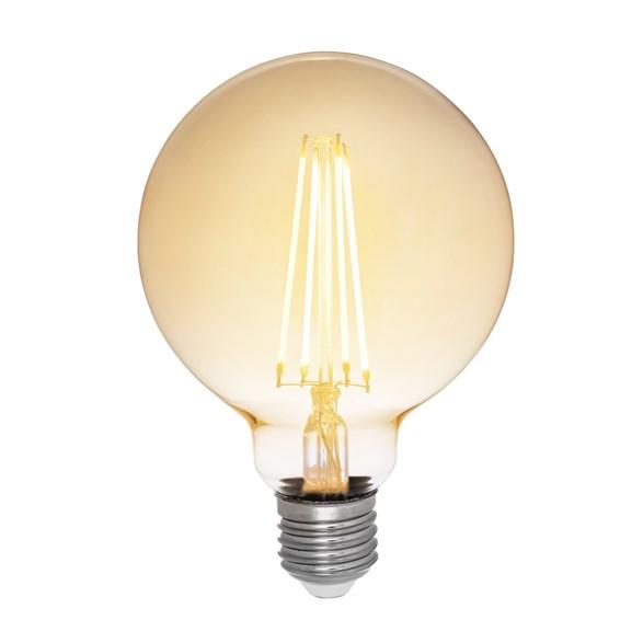 Filament LED-lampa 95 millimeter E27 med antique glas. Motsvarande 35W glödlampa. Dimbar.