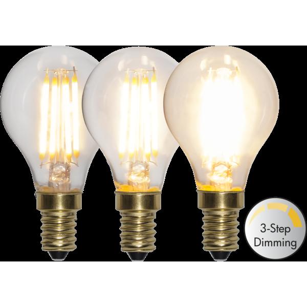 Filament led klotlampa E14 med tre stegs dimring. Ger ett vackert ljus.
