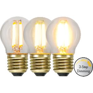 Filament led klotlampa E27 med tre stegs dimring. Ger ett vackert ljus.