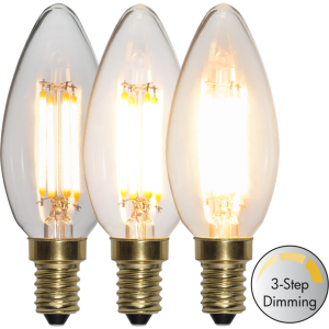 Filament led kronljus E14 med tre stegs dimring. Ger ett vackert ljus.