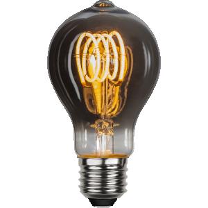 Flexifilament led i normalstorlek med knopp. Lampan har ett rökfärgat glas.