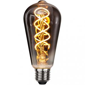 Flexifilament LED-lampa edison E27 med ett vackert rökfärgat glas. Motsvarar en 15W glödlampa. Dimbar.