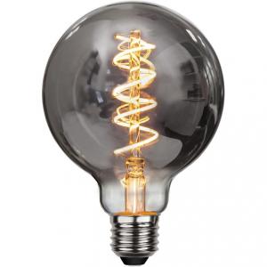 Flexifilament LED-lampa 95 millimeter E27 med ett vackert rökfärgat glas. Motsvarar en 15W glödlampa. Dimbar.