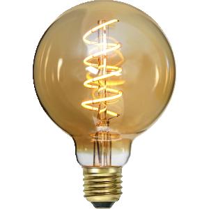 En stor flexifilament led glob från Star trading. Lampan har ett extra gult glas.