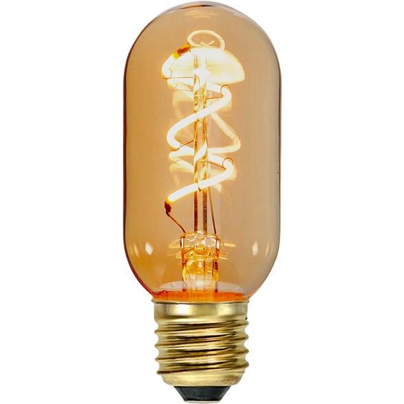 Flexifilament LED-lampa tubformad E27 med ett vackert amberglas. Motsvarar en 15W glödlampa. Dimbar.