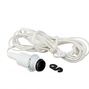 Fönsterupphäng E14 från Belid. I färgen vitstruktur och med vit kabel, strömbrytare och europa kontakt.