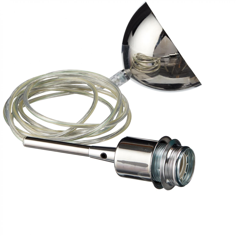 Takupphäng i krom med transparant kabel E27. Kommer tillsammans med en krom takkopp.