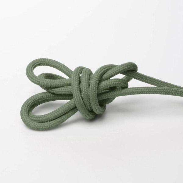 Grön/grå textilkabel. Kabeln är ojordad och finns i flera olika längder.