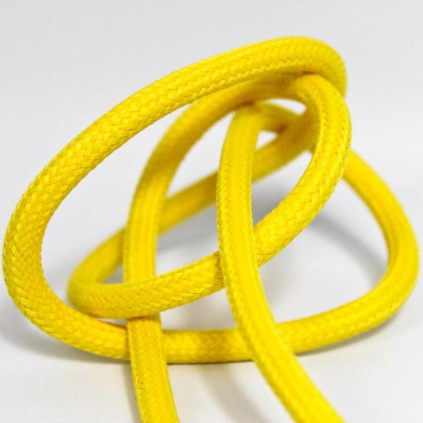 Gul textilsladd ojordad kabel. Finns i flera olika längder.