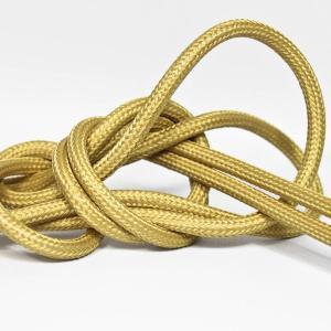 Guldfärgad textilsladd ojordad kabel. Finns i flera olika längder.