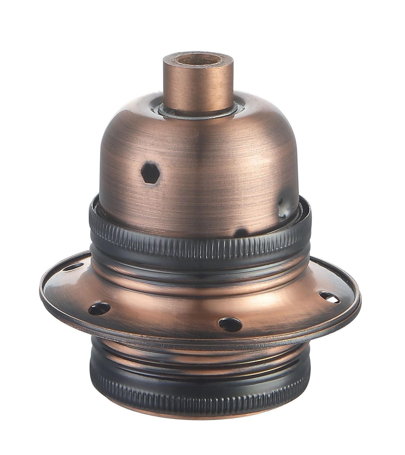 Lamphållare E27 metall antik koppar, jordad
