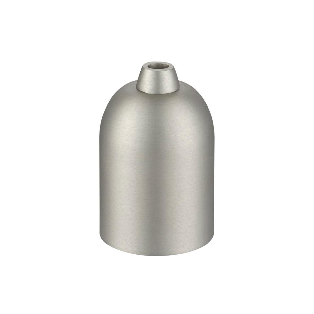 En lamphållare i borstad stål med E27 sockel, ojordad