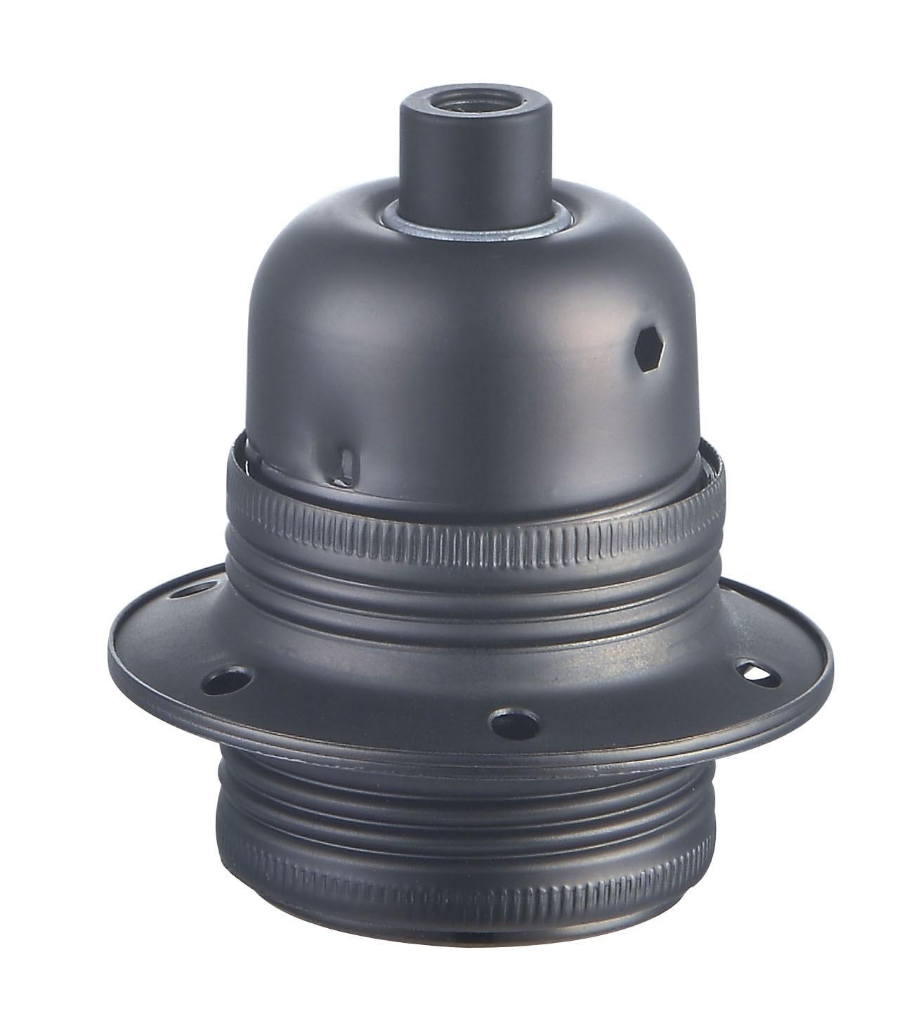 Lamphållare E27 metall pärlsvart, jordad