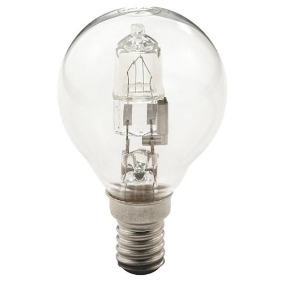 Halogen lampa E14 med litet klot. 30 watt och dimbar.