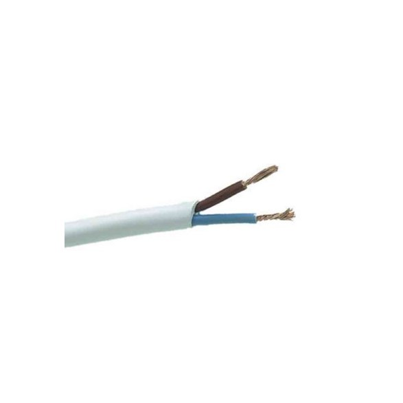 Vit rund plastsladd. Ojordad kabel. Finns i flera olika längder.