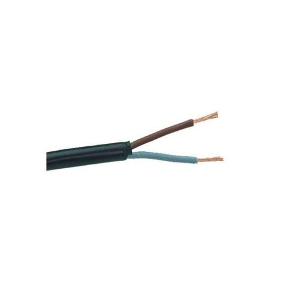 Svart rund plastsladd. Ojordad kabel. Finns i flera olika längder.