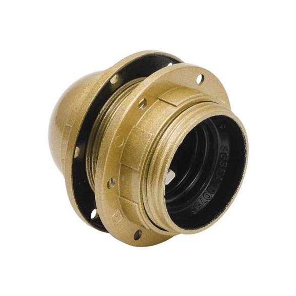 Lamphållare E27 plast guld, jordad (med skärmring)