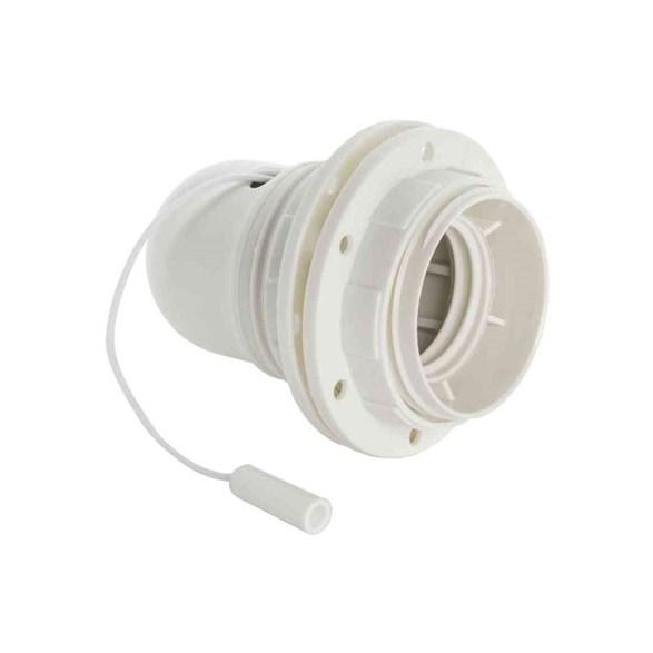 Lamphållare E27 i vitt med dragströmställare samt skärmringar och utan jordskruv.
