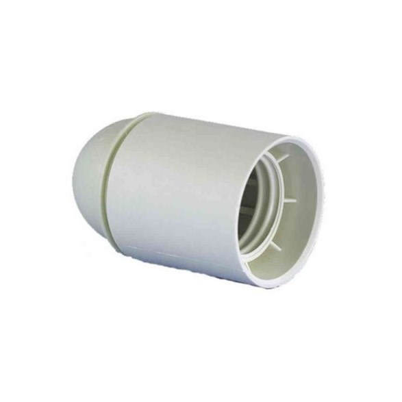 Lamphållare E27 vit. Slät i formen utan skärmringar. Utan jordskruv.