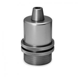 Lamphållare E27 i grå/krom. Sockeln är utan jordskruv.